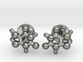 caffeine molecule cufflinks in Polished Silver