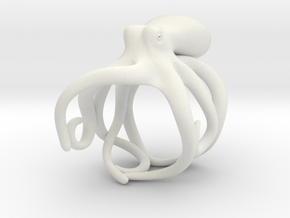 Octopus Ring 18mm in White Natural Versatile Plastic