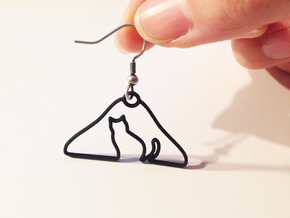 Cat Hanger Earrings in Raw Brass