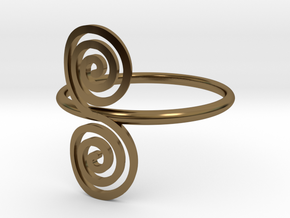 "Celtic ""life and death"" double spiral ring in Polished Bronze"