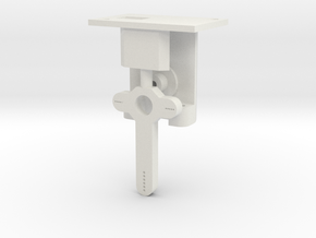 HO Steel Post Single Mech - FUD Base & Details in White Natural Versatile Plastic