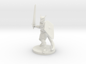 Tiefling Fighter in White Natural Versatile Plastic