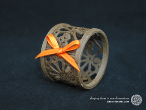 A small napkin ring with Mosaic-3b in Black Natural Versatile Plastic