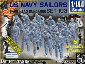 1/144 USN Dungaree Barehead Set103 in Smooth Fine Detail Plastic