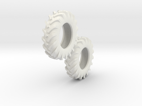 1:64 scale 12.4-24 Tires in White Natural Versatile Plastic