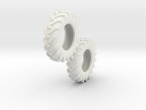 1:64 scale 12.4-24 Tires in White Natural Versatile Plastic