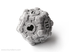 Companion Cube D12 - Portal Dice in Polished Metallic Plastic: Small