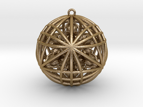 Awesomeness Sphere w/ nested Octuple Dorje Pendant in Polished Gold Steel