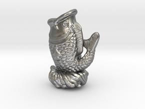 3Dfishstatue in Natural Silver
