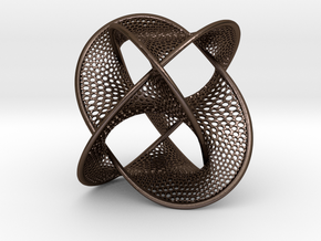 Borromean Rings Seifert Surface (6cm) in Polished Bronze Steel