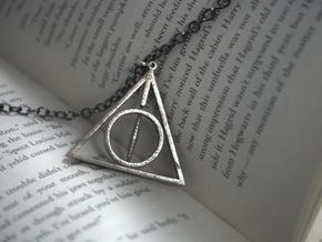 Deathly Hallows Necklace - Rotating Center in Polished Bronzed Silver Steel