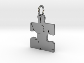 AUTISM PUZZLE PIECE PENDANT in Fine Detail Polished Silver