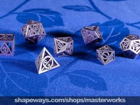 Deathly Hallows Dice Set in Polished Bronzed Silver Steel