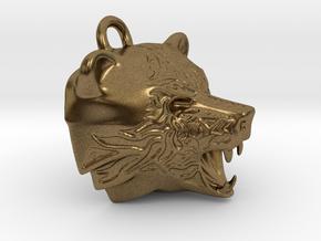 Fire Bear Pendant in Natural Bronze