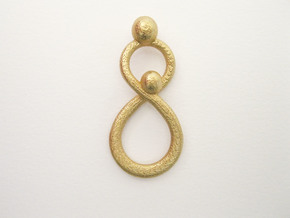 Infinite Mother And Child Pendant in Matte Gold Steel