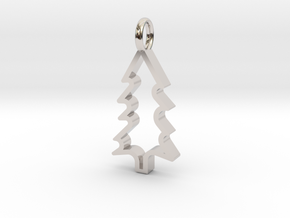 Christmas Tree - Pendant in Rhodium Plated Brass