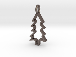 Christmas Tree - Pendant in Polished Bronzed Silver Steel