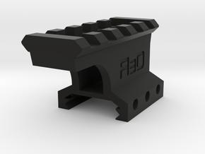 "1"" High 3 Slots to 5 Slots Picatinny Riser (Offset in Black Natural Versatile Plastic"