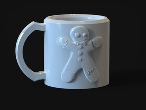 Gingerbread Man Mug in Gloss White Porcelain