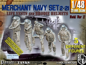 1/48 Merch Navy crew Set2-21 in Smooth Fine Detail Plastic