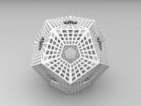 Dodecahedron with holes in it in White Strong & Flexible