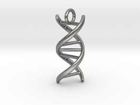 DNA (customizable: size, pendant, text) in Natural Silver