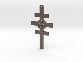 Celtic Cross of Damcar in Polished Bronzed Silver Steel