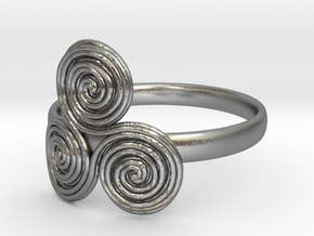 Bronze age triple spiral cult ring in Natural Silver