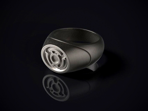 22.2 mm Yellow Lantern Ring - WotGL in Polished Bronzed Silver Steel