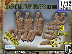 1/32 Military Drivers Set001 in Smooth Fine Detail Plastic