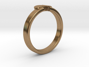 Heart ring in Natural Brass