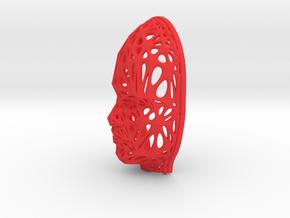 Female Voronoi Face (002) in Red Processed Versatile Plastic