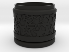 Gift Box No. 1 with Stars (solid-filigree, short) in Black Natural Versatile Plastic