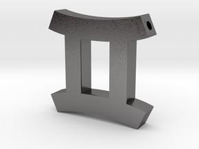 Gemini Symbol Pendant in Polished Nickel Steel