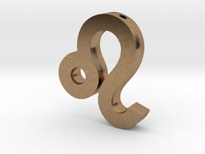 Leo Symbol Pendant in Natural Brass