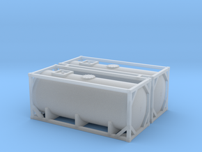 Z Scale 2x 20ft Tank Container in Smooth Fine Detail Plastic
