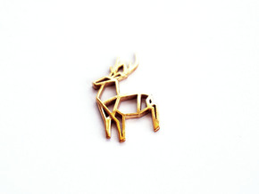 Origami Stag Pendant in Polished Bronze: Small