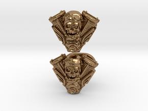 Skull engine cufflinks in Natural Brass