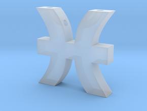 Pisces Symbol Pendant in Smooth Fine Detail Plastic
