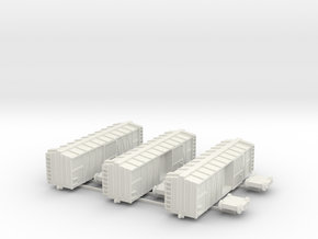 40 ft Boxcar, Wooden, 1/200 in White Natural Versatile Plastic