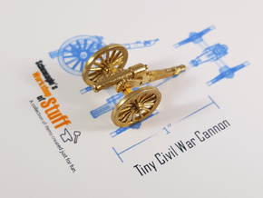 Tiny Civil War Cannon in Natural Brass