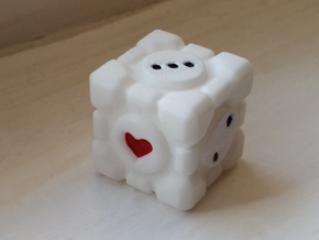 Portal Companion Cube Dice 19mm in White Processed Versatile Plastic: d6