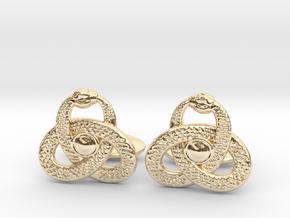 Ouroboros Triquetra Cufflinks  in 14K Yellow Gold