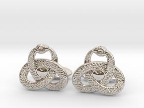 Ouroboros Triquetra Cufflinks  in Rhodium Plated Brass