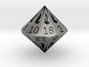 18 Sided Die - Regular in Natural Silver
