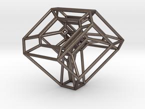 Cyclohedron (Schlegel Diagram) in Polished Bronzed Silver Steel