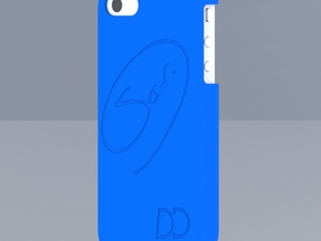 Iphone 4 - DD - Case - Custom back drawing in Blue Processed Versatile Plastic