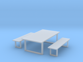 Industrial Dinning Set 1 in Smooth Fine Detail Plastic