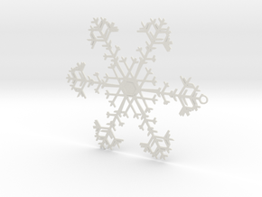 Snowflake Ornament - 8675309 in White Strong & Flexible