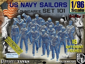 1/96 USN Dungaree Set 101 in Smooth Fine Detail Plastic